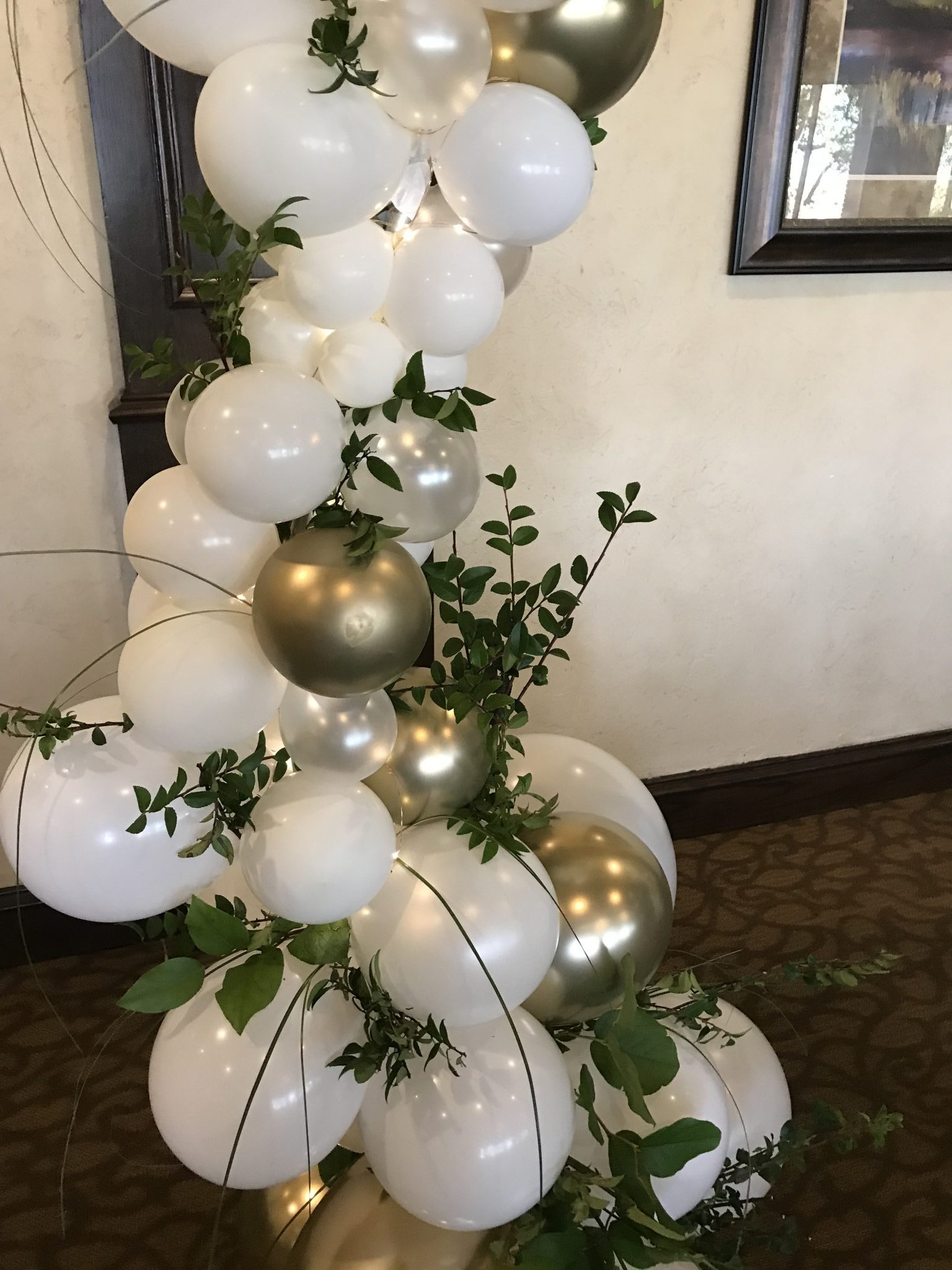 Organic Balloons with live garland and fairy lights